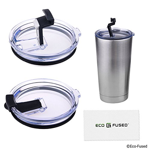 Spill and Leak Proof Lid for 20 oz Yeti Rambler - 2 pack - For Cold Drinks - Upgrade your Original Yeti Rambler Lid - Also for RTIC, Ozark Trails and Most Other 20oz Tumblers - Air & Liquid Tight (Transparent & Black, 2x 20oz Lid)