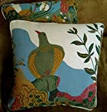 Vintage Josef Frank Svenskt Tenn Linen Fabric Custom Designer Throw Pillows Anakreon Blue Red Off White Set of 2