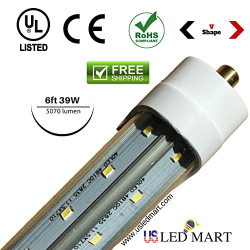 4 Pack of 6ft 39w V Shape Cooler Door / Freezer Door LED Tube Light with Base G13/single Pin Natural White (Day Light) - Clear Cover - Double Row LED - 5070 Lumens by USLEDMART