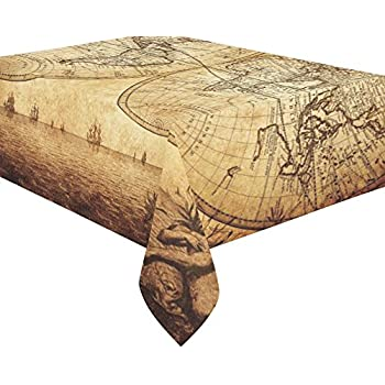 Amazon interestprint home decor vintage world map cotton linen interestprint home decor halloween retro world map cotton linen tablecloth set 60 x 84 inches yellow old style ancient map desk table cloth cover for gumiabroncs Gallery