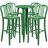 Flash Furniture 24'' Round Green Metal Indoor-Outdoor Bar Table Set with 4 Vertical Slat Back Stools