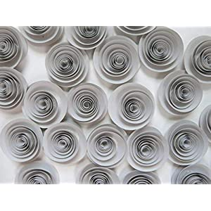 24 Grey Paper Flowers Set, Gray Wedding Roses, Loose Table Decorations, Birthday Party Decor, Modern Bridal Shower Floral Centerpiece 1.5 Inch Rosettes For Table Runner 42