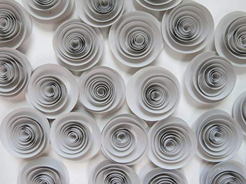 (24 Grey Paper Flowers Set, Gray Wedding Roses, Loose Table Decorations, Birthday Party Decor, Modern Bridal Shower Floral Centerpiece 1.5 Inch Rosettes For Table Runner)