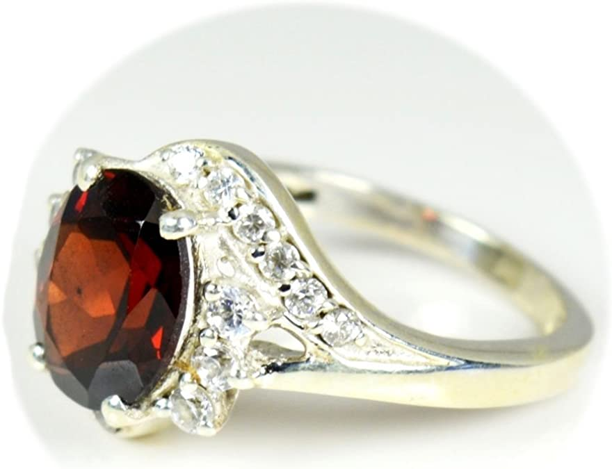 Garnet Gemstone Natural Oval Shape Ring Size US-6 Handmade Solid 925 Sterling Silver Ring Vintage Jewelry Birthstone Ring RC43
