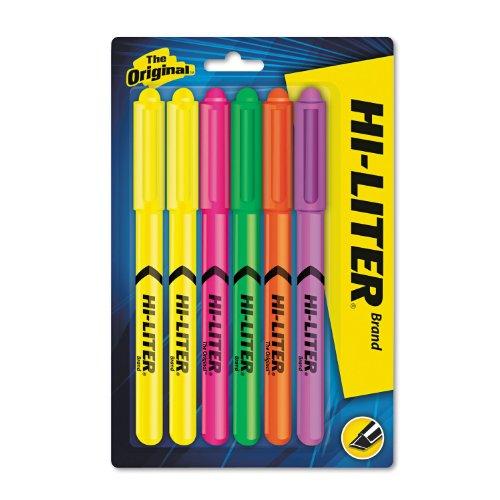 - HI-LITER 23565 HI-LITER Pen-Style Highlighter, Chisel, Assorted Fluorescent Colors, 6/Set