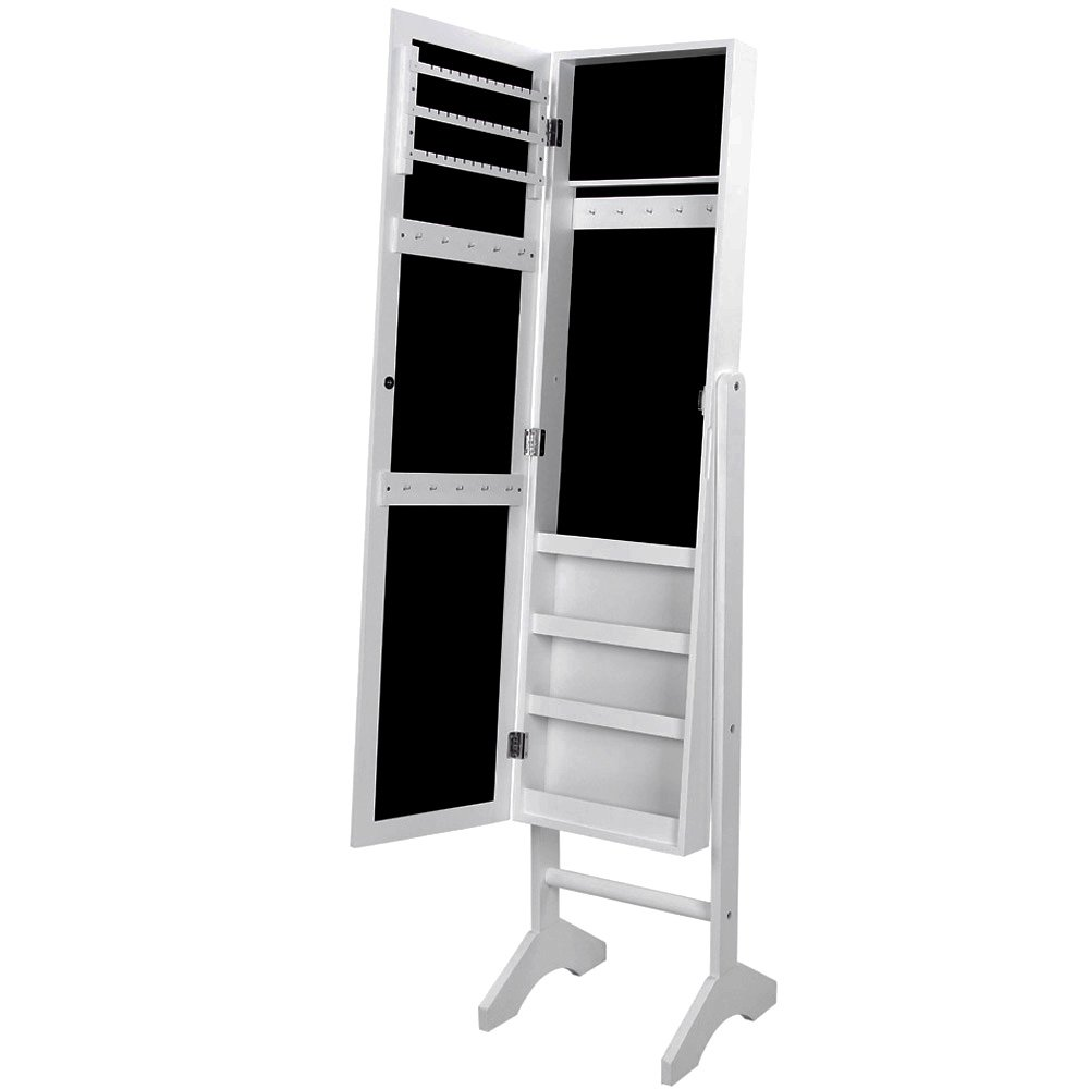 Mueble joyero grande con espejo armario organizador joyas for Espejo grande blanco