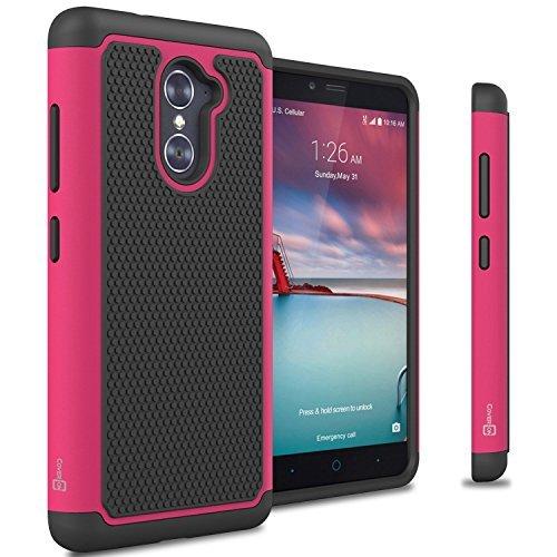 ZTE Grand X Max 2 Case, ZTE Max Duo LTE Case, CoverON [HexaGuard Series] Slim Hybrid Hard Phone Cover Case for ZTE Grand X Max 2 / Max Duo LTE - Hot Pink