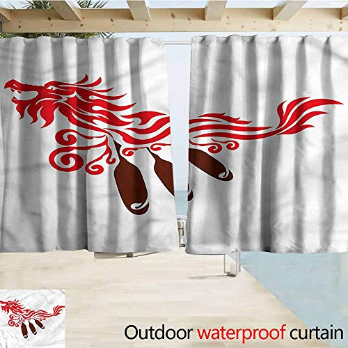 (MaryMunger Rod Pocket Blackout Curtain Panels Oar Tribal Art Dragon with Paddles Outdoor Privacy Porch Curtains W63x45L Inches)