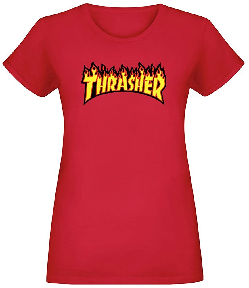 Thrasher - Thrasher T-Shirt Top Short Sleeve Jersey for Women 100% Soft Cotton Custom Printed Womens Clothing