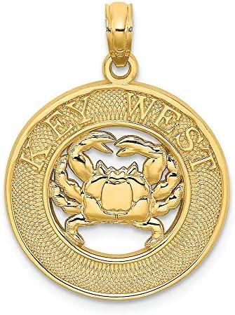 Finejewelers 14k Yellow Gold Key West On Round Frame with Crab Center Charm