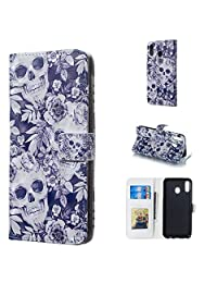 Amocase Wallet Leather Case with 2 in 1 Stylus for Samsung Galaxy M20,Premium Slim Cute 3D Painting Shockproof Magnetic PU Leather Card Slot Stand Case - Skull Flowers
