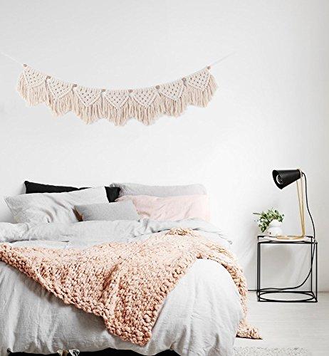 "TIMEYARD Macrame Woven Wall Hanging Fringe Garland Banner - BOHO Chic Bohemian Wall Decor - Apartment Dorm Living Room Bedroom Decorative Wall Art, 9\"" W x45 L, 7\"" flags"