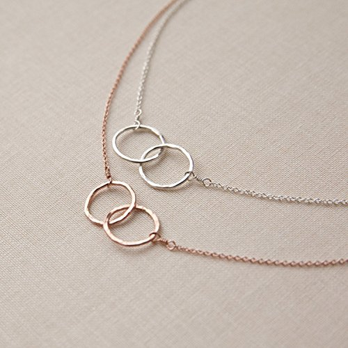 Handmade Double Loop Infinity Necklace In Rose Gold