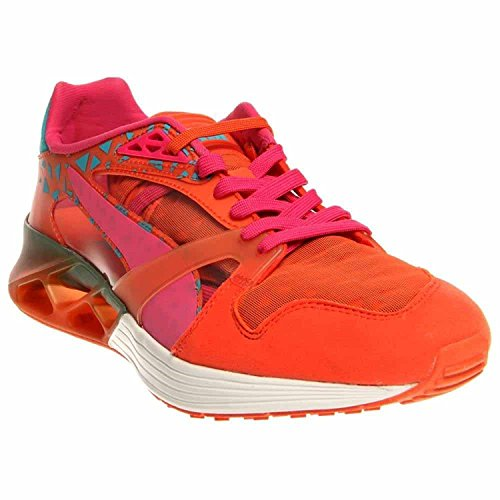Puma Future XT-Runner Clear Men Round Toe Synthetic Orange Running Shoe, Tigerlily/Bluebird, 44.5 D(M) EU/10 D(M) UK