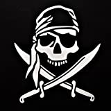 jolly roger car window decal - Chase Grace Studio Pirate Skull Vinyl Decal Sticker|WHITE|Cars Trucks SUVs Vans Laptops Walls Glass Metal|6.5