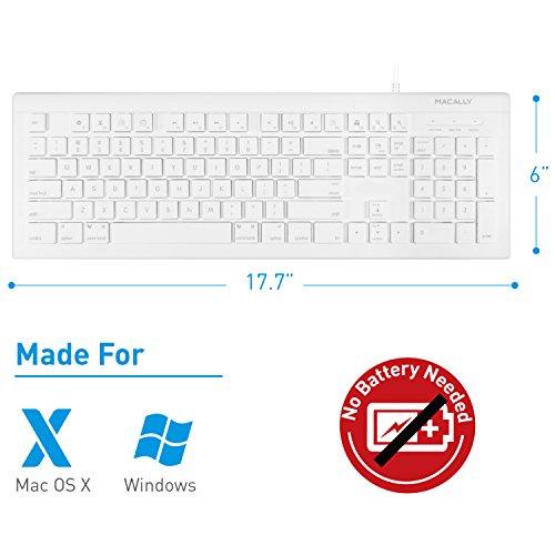 51bi2UxH 6L - Macally Full Size USB Wired Keyboard (MKEYE) for Mac and PC (White) w/ Shortcut Hot Keys