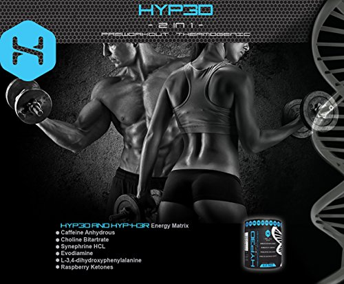 Hyp3d Blue Razz Pre-Workout: The World's First 2-in-1 Clinically Dosed, Creatine-free, Non Water-retaining & Thermogenic. Experience the Rush, Pump, Strength, and Fat Loss.