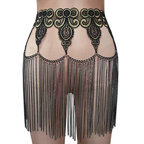 pinda Summer Musical Festival Burning Man Costumes Body Chain Fringe Vintage Skirt (One Size, -
