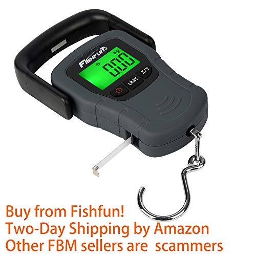 Portable Electronic Balance Digital Fishing Scale Hook Hanging with Tape Measure, 110lb/50kg, 3 AAA Batteries Included ()