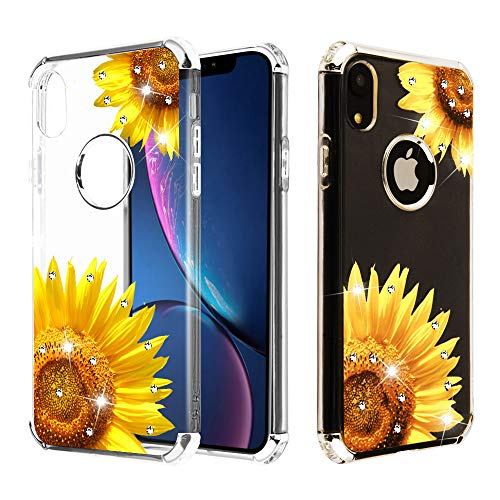 Case+Tempered_Glass+Stylus, Candy Skin Protector Cover Fits Apple iPhone X/XS/10 Electroplating Silver/Sunflower Stuffed Diamante/Artificial Diamond