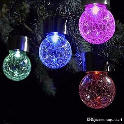 Epyz 4pcs-Pack Crackle Glass Globe,Solar ColourFull Lights Outdoor,Hanger on Top,Solar Garden Lights,Decorative Solar Lights,for Garden,Party,Dinner,Bedroom,Patio,Yard,Landscape