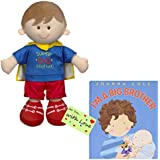 I Am a Big Brother Doll and Book Bundle - Super Big Brother Doll with Cape and Gift tag