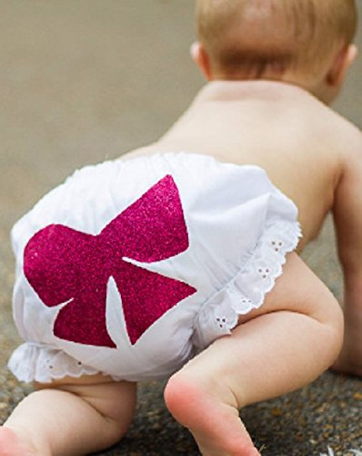 White Baby Bloomers with Hot Pink or Gold Glitter Bow - Valentines Diaper Cover - Size 0-9 Months - Holiday Photo Prop - Baby Shower Gift