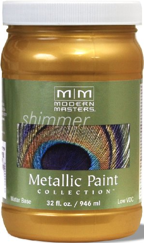 Modern Masters ME659-32 Metallic Paint, Satin Sheen Finish Olympic Gold, 32-Ounce (Finish Metallic Sheen)