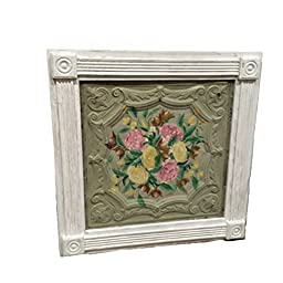 Mother\'s Day Framed Antiqued Ceiling Tile Tin with hand painted flowers / Art / Wall Art / Wall Hanging / Flower Art / Rustic Art Work / Ceiling Tin with Molding.