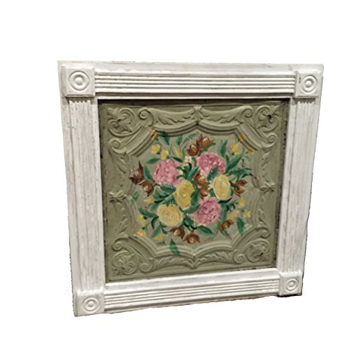 mothers-day-framed-antiqued-ceiling-tile-tin-with-hand-painted-flowers-art-wall-art-wall-hanging-flo