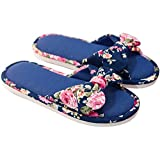 Anti-Slip Shoes Four Season, Women Floral Cotton House Slippers Flat Form Open Toe Sandals Navy-B 40-41