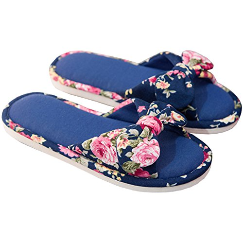 Anti-Slip Shoes Four Season, Women Floral Cotton House Slippers Flat Form Open Toe Sandals Navy-B 40-41 ()