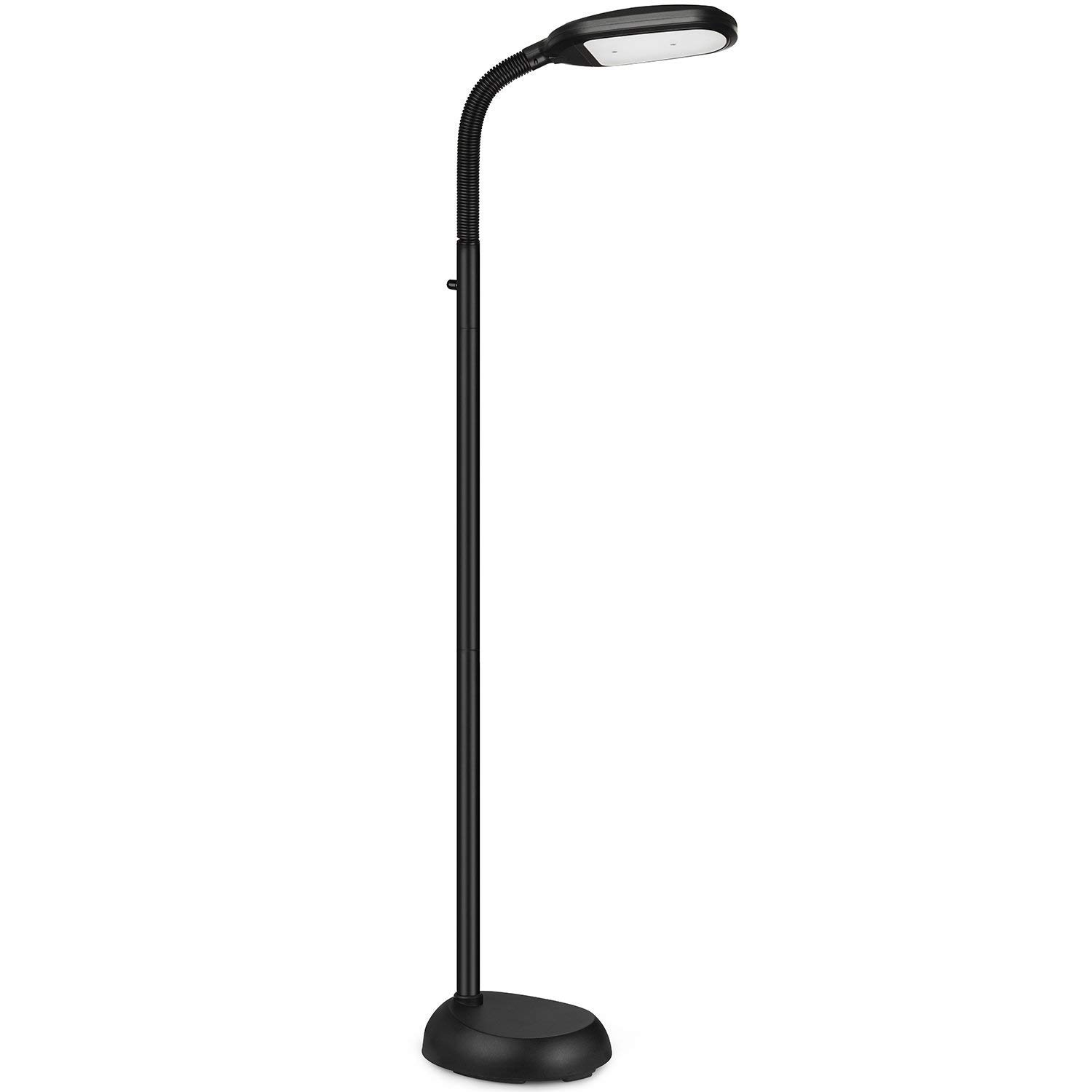 LED Floor Lamp - Dimmable Natural Daylight Sunlight LED Reading and Craft Standing Light Full Spectrum- Adjustable Gooseneck in Any Direction for Living Room Bedroom Office - Black