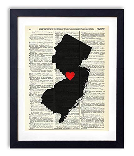 New Jersey Capital With Heart Upcycled Vintage Dictionary Art Print 8x10
