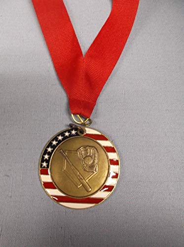 lot of 9 Gold Medal Baseball Patriotic enameled with Wide red Neck Drape Trophy