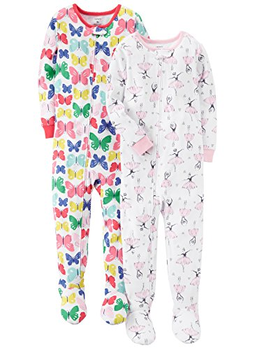 Carter's Baby Girls' 2-Pack Cotton Pajamas, Ballerina/Butterfly, 12 (Carters Girls Sleeper)