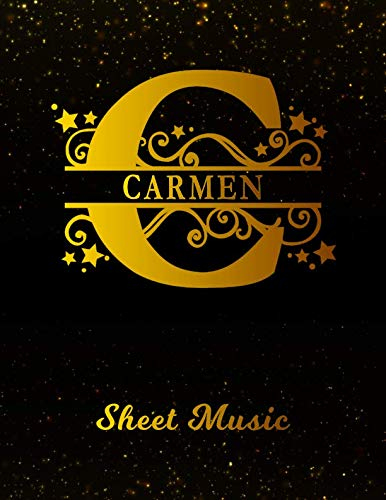 Carmen Sheet Music: Personalized Name Letter C Blank Manuscript Notebook Journal | Instrument Composition Book for Musician & Composer | 12 Staves per ... | Create, Compose & Write Creative Songs