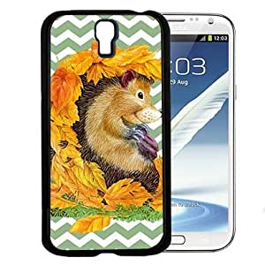 Autumn Hedgehog with Fall Leaves and Pastel Green Chevron Pattern Hard Snap on Cell Phone Case Cover Samsung Galaxy S4 I9500