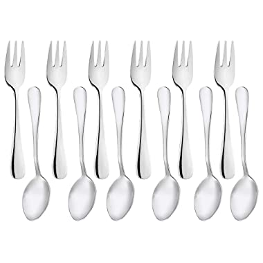 Appetizer Forks Demitasse Spoon 12-Pieces 5.4 Inches, Small Heavy-duty Stainless Steel Salad Dessert Fork and Spoon Set