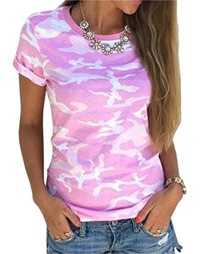 Smile fish Women Casual Camouflage Print Top(o Neck Pink,2XL)