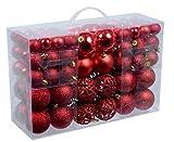 100 rote Weihnachtskugeln (Set mit versch. Stile)