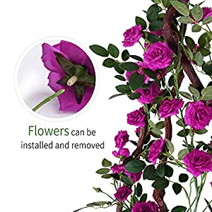 YUYAO 3PCS(9.9FT) Artificial Rose Vines Fake Silk Flower Garlands Plant Hanging Rose Vine Garland Wedding Home Garden Arch Arrangement Decoration (Purple) 5