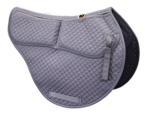 ECP Cotton Correction All Purpose Contoured Saddle Pad - Memory Foam Pockets Gray