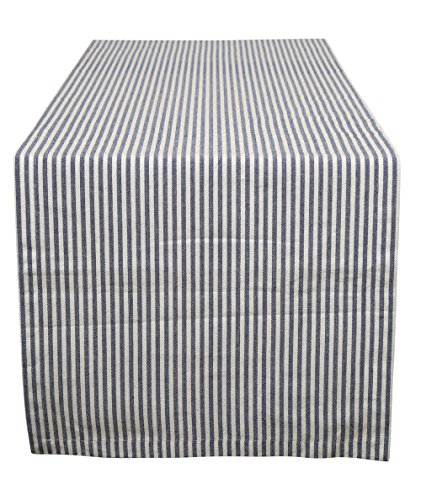 Cotton Table Runner Stripes Blue & White