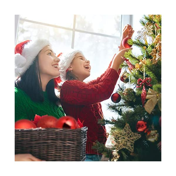 Kranich 32 Palla Rossa per Albero di Natale, infrangibile, Molto Adatta per Decorazioni Natalizie, Decorazioni sospese, Feste, Matrimoni, Feste (5 Finiture, 60mm) 5 spesavip