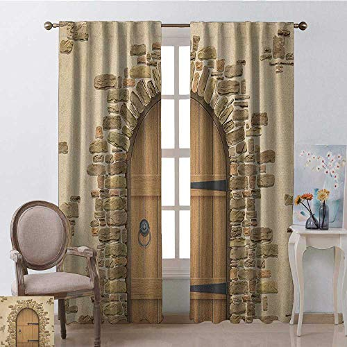 (youpinnong Rustic, Curtains Set of 2, Wine Cellar Entrance Stone Arch Ancient Architecture European Building, Curtains Kids Bedroom, W84 x L108 Inch, Sand Brown Pale Brown)