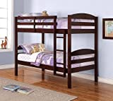 Mainstays Twin Over Twin Wood Bunk Bed, Espresso by Mainstays