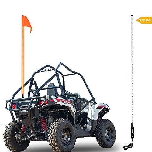 (Beatto 6FT(1.8M) Orange LED Whip Light LED Safety Flag Whips Light LED Antenna Light For Off- Road Vehicle ATV UTV RZR Jeep Trucks Dunes)