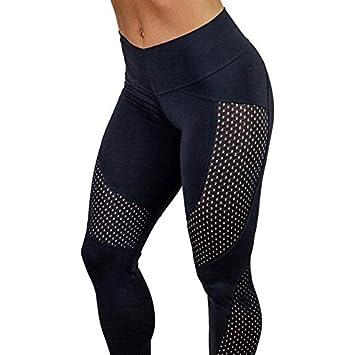 Amazon.com: Woman yoga sport leggings patchwork female mesh ...
