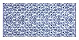 Camco Large Reversible Outdoor Patio Mat - Mold and Mildew Resistant, Easy to Clean, Perfect for Picnics, Cookouts, Camping, and The Beach (8' x 16', Blue Swirl Design) (42841)